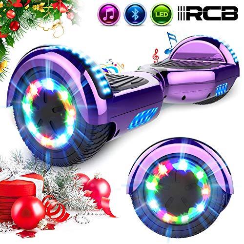 RCB Elektro Skateboard Hoverboard E-Board 6,5' Smart Self Balance Scooter mit bunten Lichter Bluetooth eingebaute Geschenk für Kinder - Elektro Roller