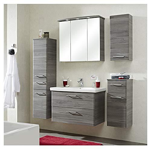 Pelipal - Peter 12 - Badmöbel-Set - 82 cm - Badset, Komplettset, 6-teilig mit Spiegelschrank, Keramik-Waschtisch usw. in Sangallo Grau quer