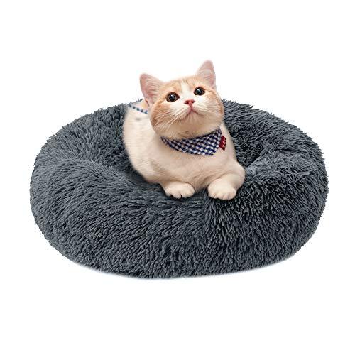Urijk Rund Katzenbett Hundebett rutschfest Waschbar Hautierbett Plüsch Flauschig Tierbett Bett in Doughnut-Form für Katzen und Hunde