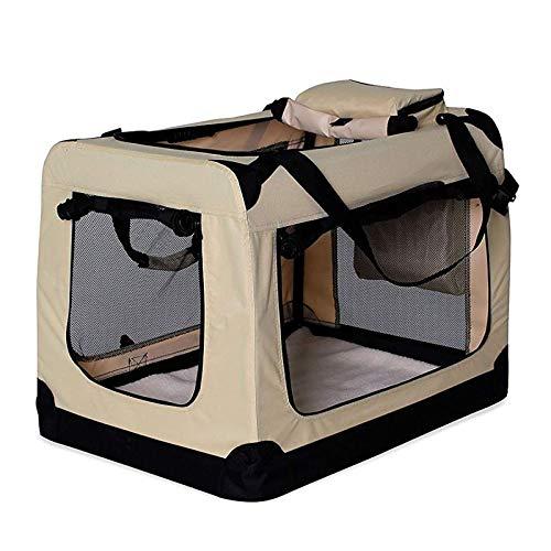 dibea Hundetransportbox Hundetasche Hundebox faltbare Kleintiertasche Größe (L) 70x52x50 cm Farbe Beige