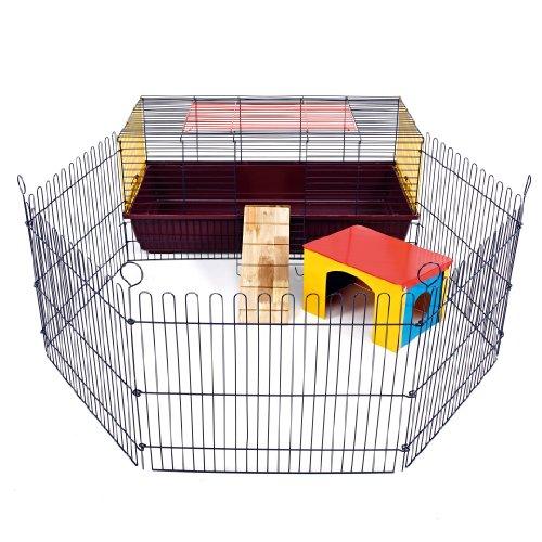 Little Friends Kaninchenkäfig 100 für Innenbereich mit Auslaufmöglichkeit, ideal für Kaninchen und M