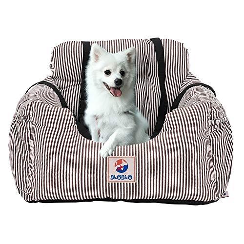 BLOBLO Sitzerhöhung für Hunde,Hunde Auto Reisebett mit Seitentasche und Hundeleine,Abnehmbarer Waschbarer,für Hunde mit Einem Gewicht unter 16kg,Sicherer und Bequem für Reisen (Braun)