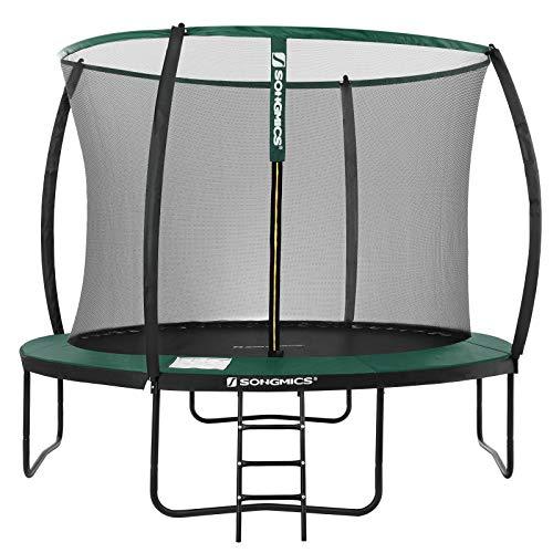 SONGMICS Trampolin Ø 305 cm, rundes Gartentrampolin mit Sicherheitsnetz, mit Leiter und gepolsterten Stangen, Sicherheitsabdeckung, TÜV Rheinland getestet, sicher, schwarz-dunkelgrün STR102C01