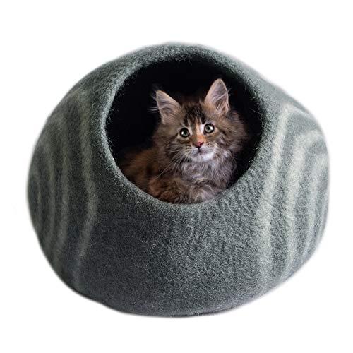 Ojas Yatra Filz Katzenhöhle Bett – Handgefertigte Katzenhöhle Iglubett – Premium Filz Haustierbett für Katzen und Kätzchen – Katzenhöhle Wolle handgefertigt in Nepal