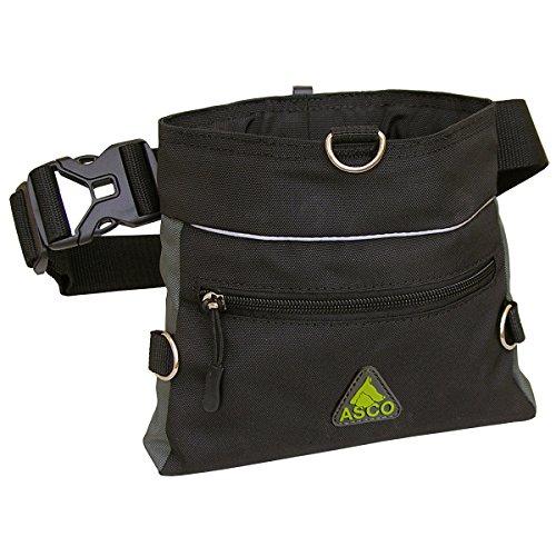 ASCO Futterbeutel, Leckerlibeutel für Hunde, Pferde mit Einhand-Schnappverschluss, 20x20cm, Premium Futtertasche schwarz AC61TB