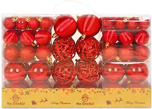 No One&U 100 Stück Kunststoff Weihnachtskugel,Weihnachtskugeln Ornamente Kugel Box Glanz Glitzer Matt Dekor Inge,Farbe:Rot
