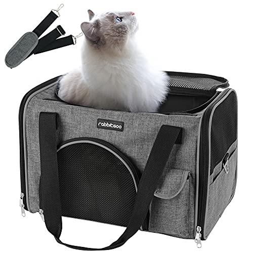 rabbitgoo Transportbox Hund faltbar Hundetasche, Katzentransportbox Weich, Komfort Tragetasche Transporttasche Autobox mit Schultergurt für Haustier Grau
