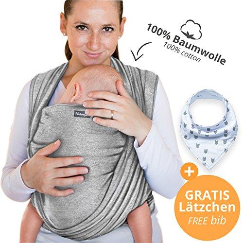 Babytragetuch aus 100% Baumwolle - Hellgrau – hochwertiges Baby-Tragetuch für Neugeborene und Babys bis 15 kg – inkl. GRATIS Baby-Lätzchen
