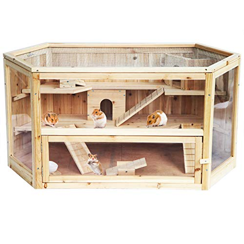 EUGAD 0035HT Hamsterkäfig Massivholz Rattenkäfig Nagerstall Kleintierkäfig Mäusekäfig Nagervilla Dreistöckig 115 X 60 x 58 cm