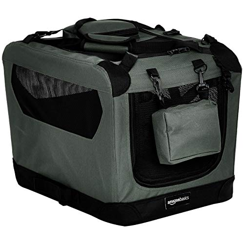 Amazon Basics - Hochwertige Haustier-Transportbox, faltbar, weich - 53 cm, GRAU