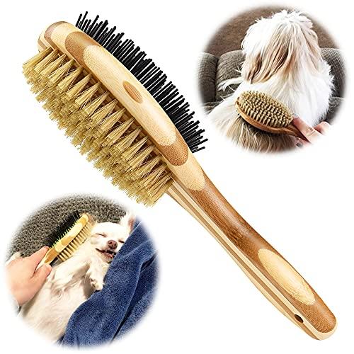 KTL Hundebürste & Katzenbürste, Doppelbürste für Hunde und Katzen, Pin Hundebürste für Knoten & Unterfell - Kurzhaar & Langhaar