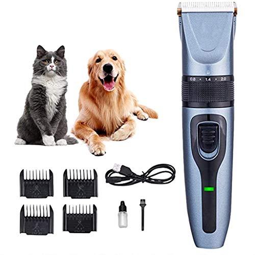DYG Pet Schermaschine Hundepflege Clippers Haustier-Katze-Trimmer-Silent-Haustier-Haar-Trimmer-USB-Akku-Rasierer Haircut Maschine 3 Stunden Lauf