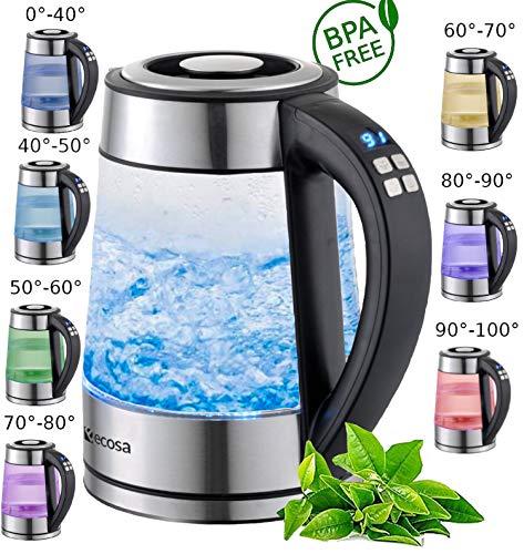 Glas Wasserkocher 1,7 Liter   2200 Watt   Edelstahl mit Temperaturwahl   Teekocher   100% BPA FREI   Warmhaltefunktion   LED Beleuchtung im Farbwechsel   Temperatureinstellung (40°C-100°C)