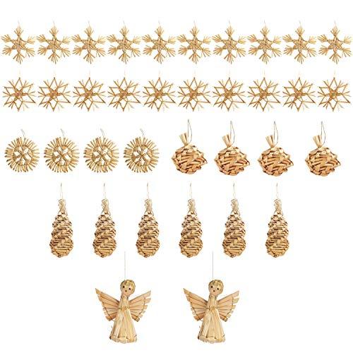 BELLE VOUS Weihnachtsbaumschmuck (36 STK) - Strohsterne Christbaumschmuck aus Stroh Natur Verschiedene Motive mit Schnur - Weihnachtsschmuck Weihnachtsdeko Weihnachtssterne zum Aufhängen Baumschmuck