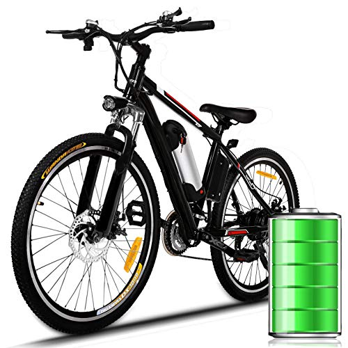 Eloklem E-Bike Mountainbike Elektrofahrrad mit 21-Gang Shimano Nabenschaltung, 250W, 8AH, 36V Lithium-Ionen-Akku, 26' Zoll, Pedelec Citybike Stadtrad leicht (Schwarz-Nicht faltbar)
