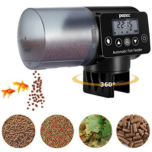 Futterautomat Aquarium, Petacc Automatisierte Futterspender für Fische mit 4 Mal Fütterung Zeit Einstellung, geeignet für Aquarium, Fischtank und Schildkrötentank