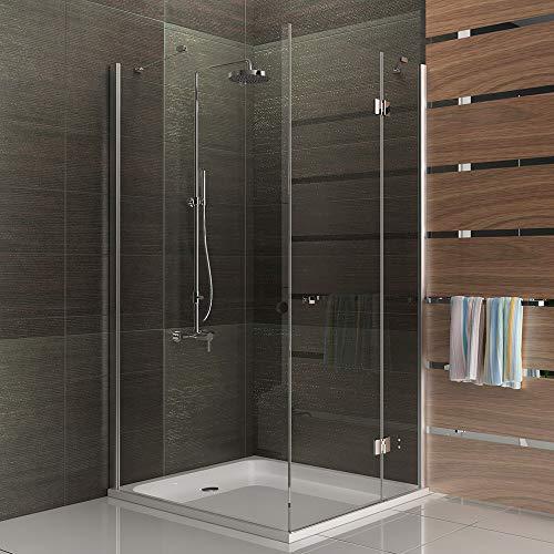Alpenberger Eck- Duschkabine 90x100x195cm | Sicherheits-Glas (6 mm stark) | Eckduschkabine mit Drehtür und fester Seitenwand | Minimaler Raumbedarf | Links- oder Rechts-Montage möglich
