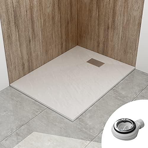 STEINHIRSCH Duschwanne 120x90 cm SMC Brausewanne Weiß Steinoptik Duschtasse Extraflach Anti-Rutsch mit Ablaufgarnitur und Edelstahl-Abflussrinne