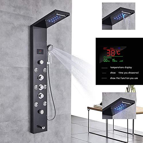 LED Duschpaneel aus rostfreiem Edelstahl mit Temperaturanzeige, Wanneneinlauf und 8 Massagedüsen Farbe: Schwarz