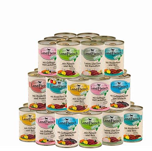 Landfleisch 30 x 400 g Pur Dosen   Nassfutter   aus 13 Sorten frei wählbar   + MIOMERA gratis Snack