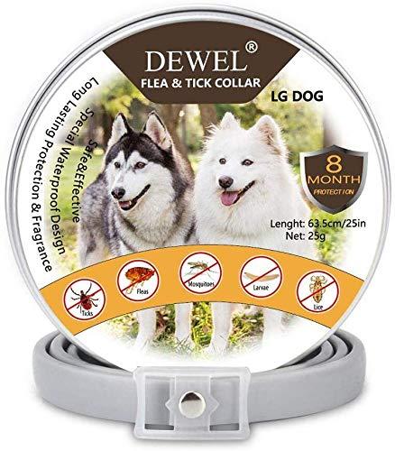 DEWEL Zeckenhalsband für Hunde, 63.5cm Verstellbar Floh-und Zecken Halsbander, Wasserdicht Anti-Zecken und Flöhe