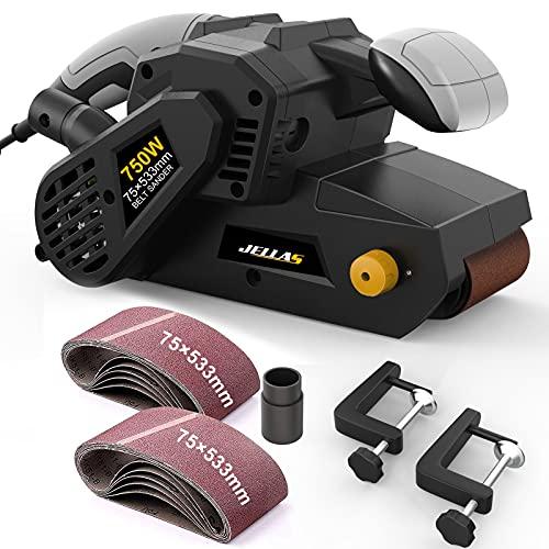 JELLAS Bandschleifer 75 mm × 533 mm mit 10-teiligen Schleifbändern und Staubbeutel, Tischschleifer mit variabler Drehzahlregelung, 2-in-1-Staubsaugeradapter, 3 Meter langes Netzkabel, BS750