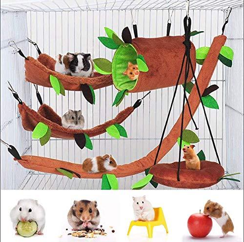 5 Stück Hamsterkäfig Meerschweinchen Käfig Zubehör, Frettchen Käfig Spielzeug Hängematte, Hamster Bett Ratte Hängematte, Rattenkäfig Spielzeug Blatt hängenden Tunnel