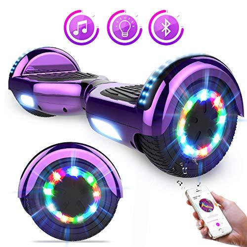 Hoverboards Self Balance Scooter 6,5 'Elektroroller mit super coolen LED-Leuchten und Bluetooth-Lautsprecher - Das beste Geschenk für Kinder