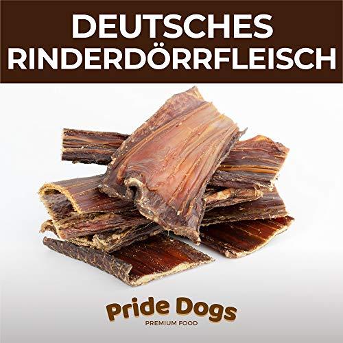 PrideDogs Rinderdörrfleisch kurz 500g der Premium Kausnack für Ihren Hund | 100% Rind aus Deutscher Herstellung | im geruchsneutralen Beutel | Kauartikel
