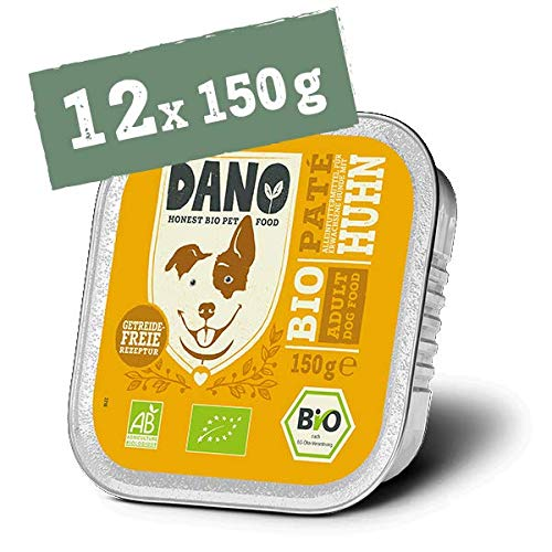 DANO Bio-Hundefutter, Nass - Getreidefreie Hühnerpastete, Hunde-Nassfutter - Gesunde Ernährung Vollnahrung für Hunde jeden Alters - 12 * 150g