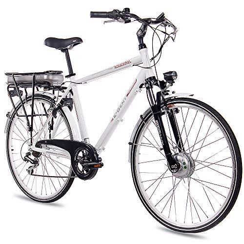 CHRISSON 28 Zoll E-Bike Trekking und City Bike für Herren - E-Gent Weiss mit 7 Gang Acera Kettenschaltung - Pedelec Herren mit Bafang Vorderradmotor 250W, 36V