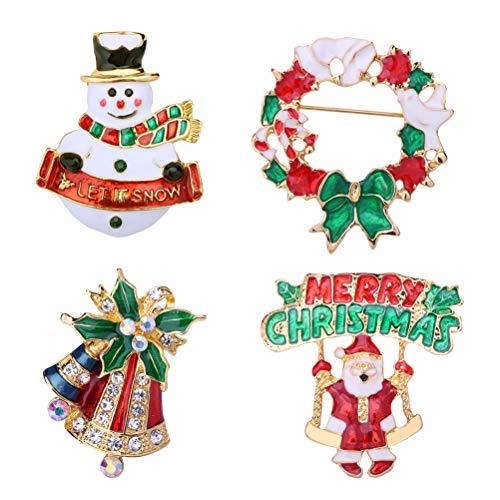 YeahiBaby 4pcs Weihnachten Emaille Brosche Schneemann Weihnachtsmann Weihnachtsglocken Kranz Anstecker Pin Weihnachtsschmuck