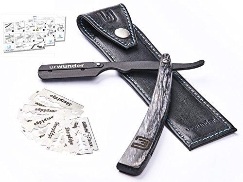 Präzises Premium-Rasiermesser + Hochwertiges Echtleder-Etui + Einfache Anleitungen + Scharfe Ersatzklingen   urwunder Beardo   Ideal zum Rasieren (schwarz matt/anthrazit)