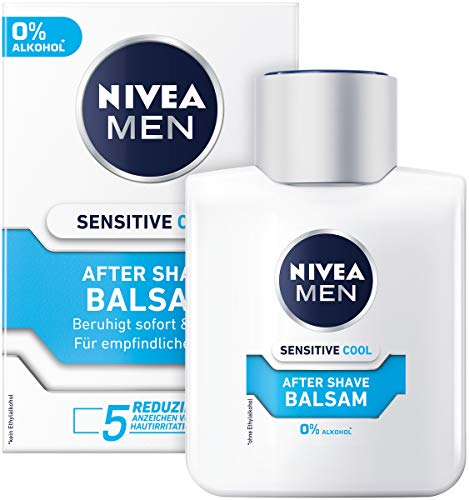 NIVEA MEN Sensitive Cool After Shave Balsam im 1er Pack ( 1 x 100 ml), beruhigendes After Shave, Hautpflege nach der Rasur mit Kamille und Algenextrakten