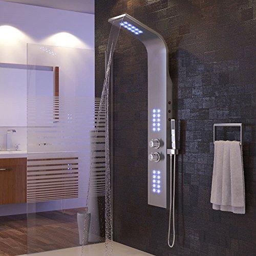 Wefun Duschpaneel Regendusche Duscharmatur Duschsäule Bad Duschset mit LED Thermostat 30℃ - 50℃
