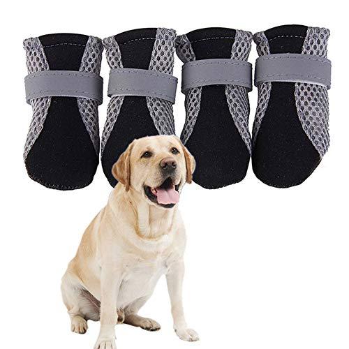 TXDIRECT Pfotenschutz Hund Hundeschuhe Pfotenschutz Hundeschuhe rutschfeste Hundesocken Hundestiefel für verletzte Pfoten wasserdicht Hundepfotenschutz Black,l