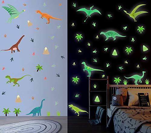 86 Stück Dinosaurier Wandsticker Kinder,Wandtattoo Kinderzimmer,Tier Leuchtend Wandaufkleber,Dino Leuchtsticker für Junge Schlafzimmer Geschenke,Dino Wanddeko für Klassenzimmer Babyzimmer Spielzimmer