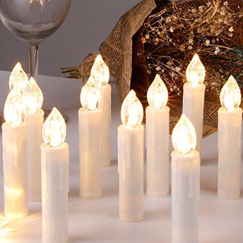 CCLIFE TÜV GS LED Weihnachtskerzen Kabellos RGB Kerzen Bunt Weihnachtsbaumkerzen Christbaumkerzen mit Fernbedienung Timer Kerzenlichter, Farbe:Beige, Größe:20er