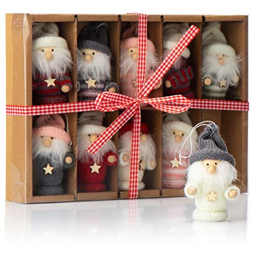 com-four® 10x Premium Weihnachtsmann-Anhänger für den Weihnachtsbaum, Bezaubernde Christbaum-Figuren Anhänger als Baumbehang, Weihnachtsschmuck oder Geschenk-Anhänger