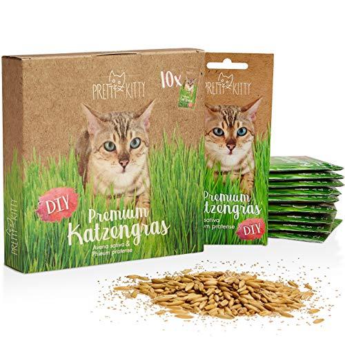Premium Katzengras Saatmischung: 10 Beutel je 25g Katzengras Samen für 100 Töpfe fertiges Katzengras – Eine grüne Katzen Wiese – Natürliche Katzen Leckerlies – Pflanzen Samen - Grassamen PRETTY KITTY