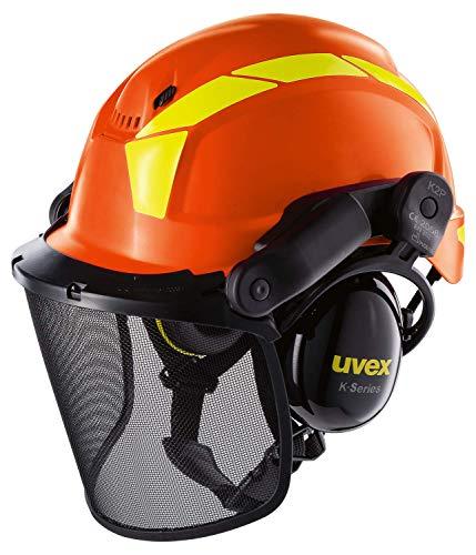 Uvex Pheos Forstschutzhelm - Arbeitshelm mit Gehörschutz & Visier - Orange
