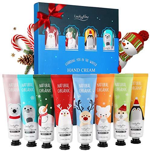 Handcremes Set, Luckyfine 8 Pcs Parfümierte Hand Cream feuchtigkeitsspendend für raue, strapazierte, rissige Hände, Feuchtigkeitscreme Pflegecreme, Unisex, Geschenk für Geburtstag & Weihnachten