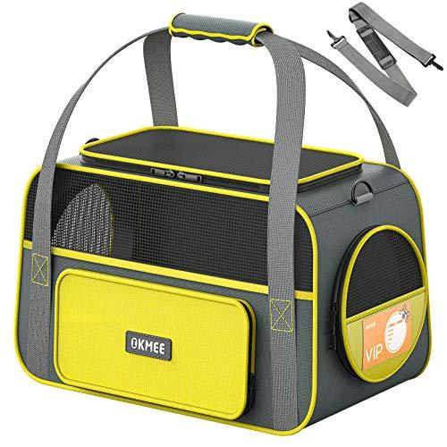OKMEE Transporttasche Katze &Transporttasche Hund, 2021 Beliebteste Farbe, Faltbare Hundetragetasche Katzentragetasche, Tragetasche Haustiere mit Polster und Schultergurt Zug/Auto/Flugzeug