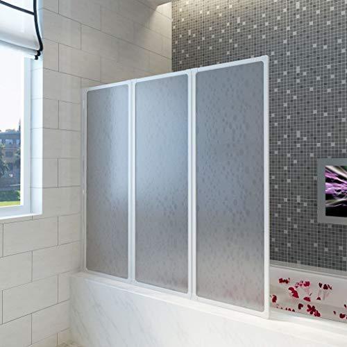 Lechnical Badewannen Faltwand Duschabtrennung Faltwand für Badewanne Duschwand Badewannenaufsatz Badewannenfaltwand 141 x 132 cm