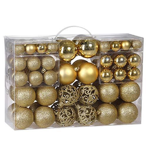 Deuba Weihnachtskugeln 100er Set Weihnachtsdeko matt glänzend Glitzer christbaumkugeln Gold Ø 3 4 6 cm innen außen