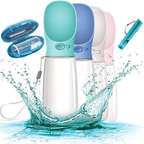 Paw's Beauty Premium 550 ML Hundetrinkflasche für unterwegs - Wasserflasche Hund Tragbare Haustier Wasserflasche - BPA Frei & Auslaufsicher inkl. Pfeife & Einfingerzahnbürste (Blau)