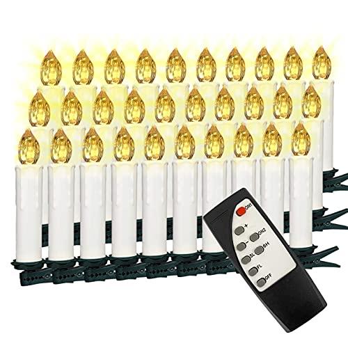 VASEN LED Christbaumkerzen Kabellos mit Fernbedienung Warmweiß Weihnachtsbaumkerzen Flammenlos Weihnachtskerzen 30er