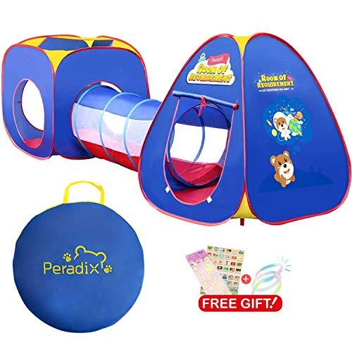 Peradix Spielzelt Kinderzelt Babyzelt mit krabbeltunnel 3-Teiliges Bällebad Spielhaus mit Zelt Tasche und Tunnel für Zuhause & im Garten Mehrweg (Ohne Bälle-Blau)