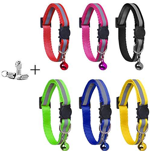 YHmall 6 Stück Katzenhalsband Reflektierendes + 2 Stück Anhänger mit sicherheitsverschluss und Glocke, Verstellbar 20–30 cm, Coole Halsbänder für Hauskatzen, Kleine Hunde MEHRWEG