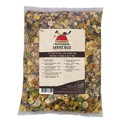 SeedzBox Ultimate Deluxe Hamster Futter-Mix aus Samen/Nüssen - natürl, gesunde Leckerei für Hamster, Wüstenrennmäuse & Mäuse - Sonnenblumenkerne, Erdnüsse, Mais, Gerste, Vitamin C & Erbsen - 1kg Pkg.